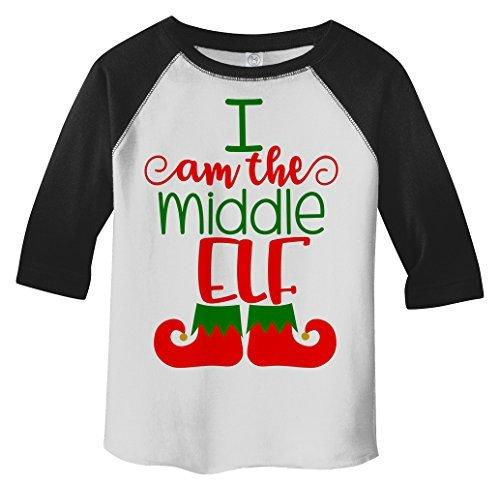 Shirts By Sarah Toddler Christmas I'm The Middle Elf T-Shirt Matching Sibling 3/4 Sleeve Shirt-Shirts By Sarah