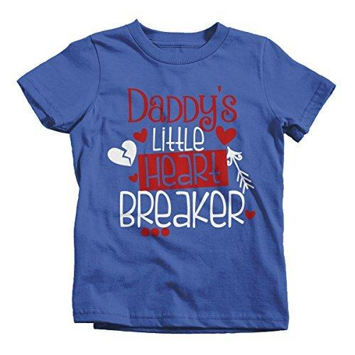 Shirts By Sarah Girl's Daddy's Little Heart Breaker Kids Funny Valentine's Day T-Shirt-Shirts By Sarah