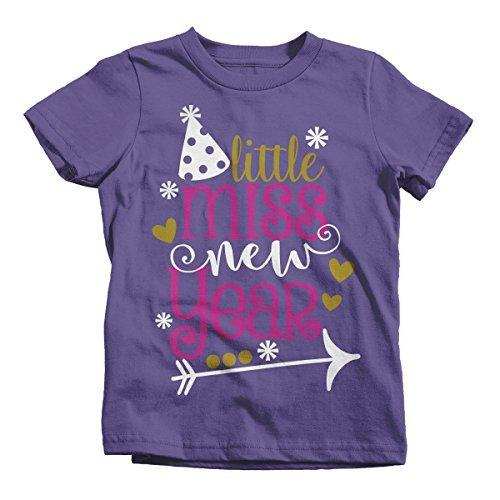 Shirts By Sarah Girl's Little Miss New Year T-Shirt Year's Party Hat Tee-Shirts By Sarah