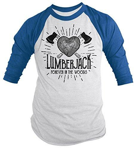 Shirts By Sarah Men's Lumberjack T-Shirt Forever in Woods Logger Logging Tee 3/4 Sleeve Raglan-Shirts By Sarah