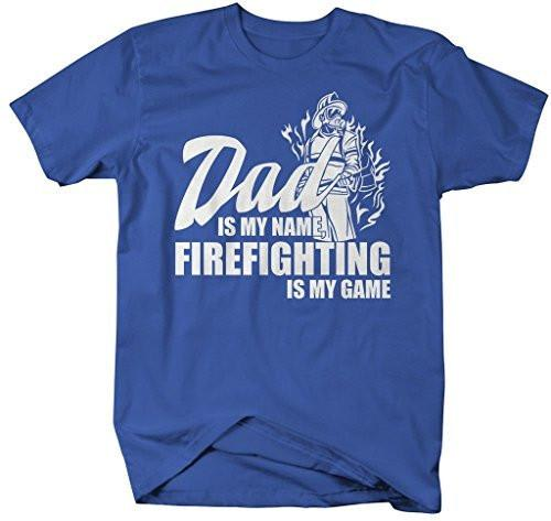 Shirts By Sarah Men's Funny Dad Is Name Firefighting Game Shirt Gift Father's Day-Shirts By Sarah