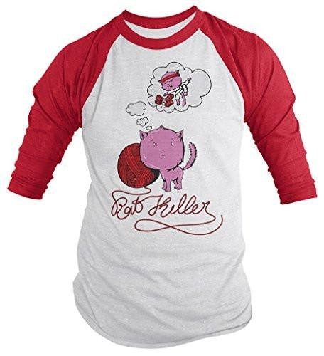 Shirts By Sarah Men's Funny Cat T-Shirt Kitty Rat Killer Shirts 3/4 Sleeve Ninja Cat Tee-Shirts By Sarah