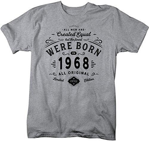 Shirts By Sarah Men's Finest Born In 1968 50th Birthday T-Shirt Vintage Tee-Shirts By Sarah