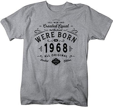 Shirts By Sarah Mens Finest Born In 1968 50th Birthday T Shirt Vintage Tee