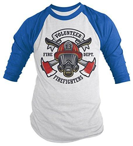 Shirts By Sarah Men's Volunteer Firefighters Shirt 3/4 Sleeve Raglan Mask Axe Shirts-Shirts By Sarah