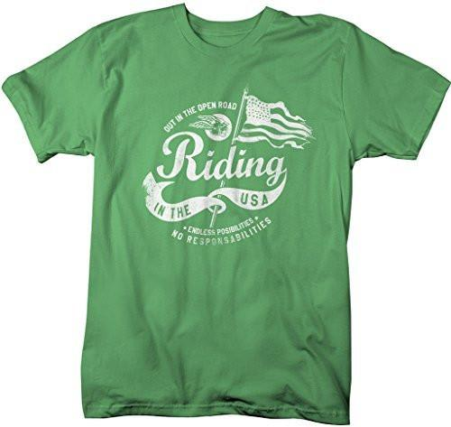 Shirts By Sarah Men's Motorcycle T-Shirt Open Road USA Flag Patriotic Shirt-Shirts By Sarah