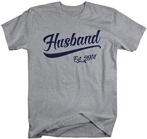 Shirts By Sarah Men's Husband Est. 2014 T-Shirt Wedding Anniversary Shirts-Shirts By Sarah