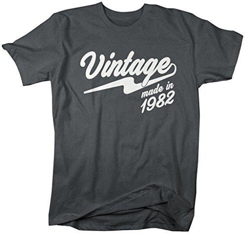 Shirts By Sarah Men's Vintage Made In 1982 T-Shirt Retro Birthday Shirts-Shirts By Sarah