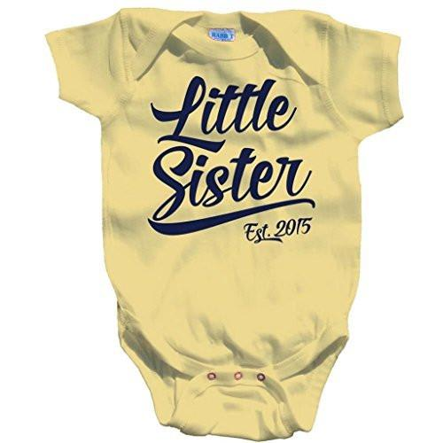 Shirts By Sarah Baby Girl's Little Sister Est. 2015 One Piece Creeper Bodysuit-Shirts By Sarah