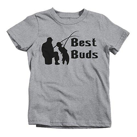 Shirts By Sarah Little Boy's Matching Father Son Best Buds Toddler Fishing T-shirt-Shirts By Sarah