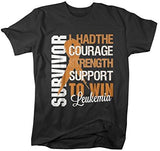 Shirts By Sarah Men's Leukemia Survivor T-Shirt Orange Ribbon Shirt - Black / XX-Large - 1