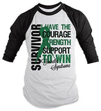 Shirts By Sarah Men's Tourette Syndrome Survivor Shirt 3/4 Sleeve Shirts Green Ribbon - Black/White / XX-Large - 1