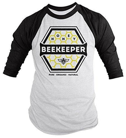 Shirts By Sarah Men's Beekeeper T-Shirt Honey Comb Shirt Pure Natural Organic 3/4 Sleeve Raglan-Shirts By Sarah