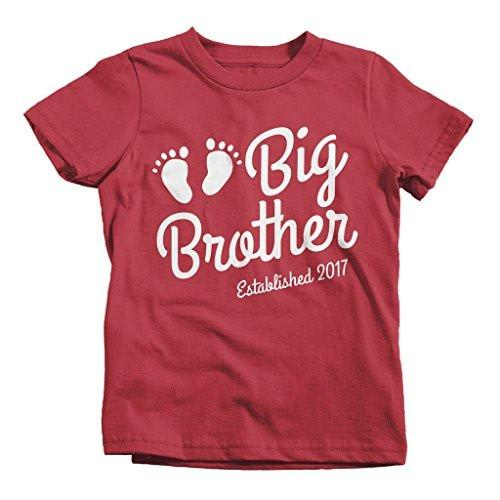 Shirts By Sarah Boy's Big Brother 2017 Shirt Baby Feet T-Shirt Cute Promoted-Shirts By Sarah