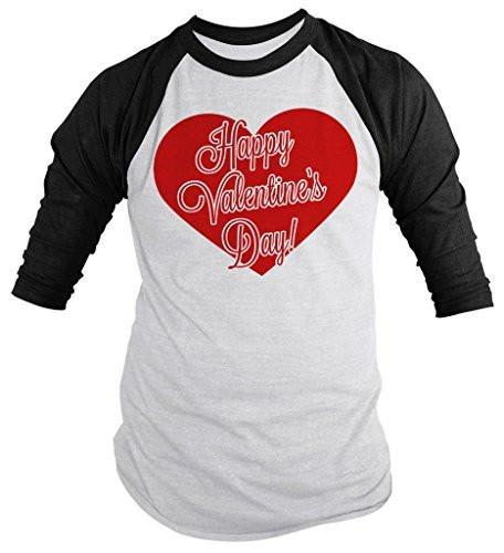Shirts By Sarah Unisex Happy Valentine's Day Heart 3/4 Sleeve Raglan Shirt-Shirts By Sarah