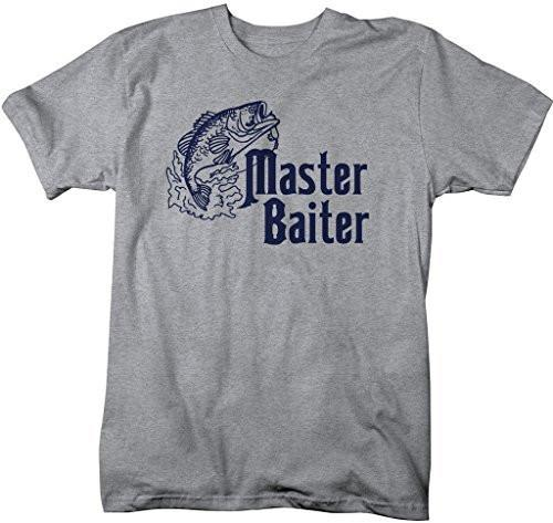 Shirts By Sarah Men's Funny Fishing T-Shirt Master Baiter Offensive Shirts-Shirts By Sarah