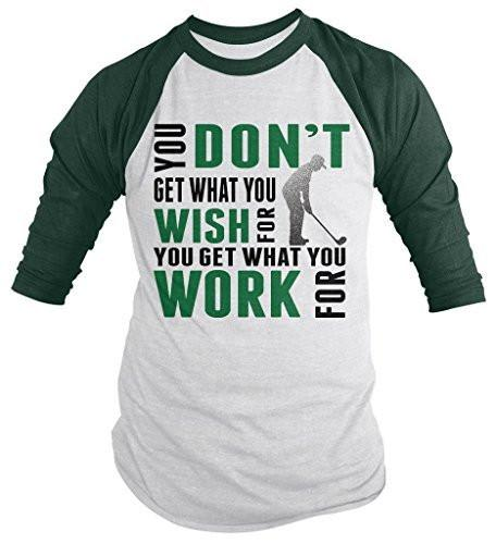 Shirts By Sarah Men's Golf Shirt Get What Work For 3/4 Sleeve Raglan Shirts-Shirts By Sarah