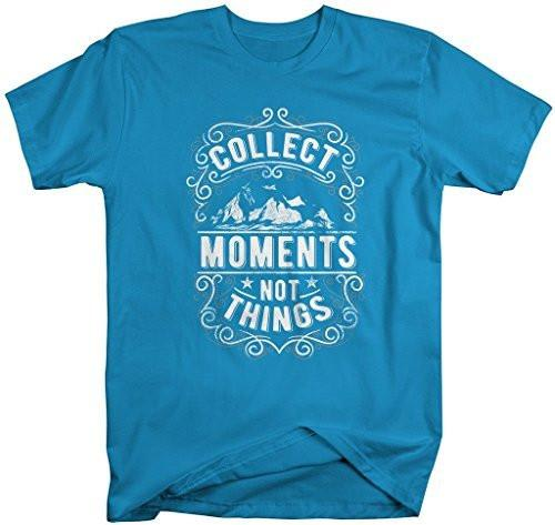 Shirts By Sarah Men's Inspirational Hipster T-Shirt Collect Moments Not Things Shirt-Shirts By Sarah