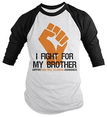 Shirts By Sarah Men's Multiple Sclerosis Awareness Shirt 3/4 Sleeve Fight For Brother Fist Orange Ribbon-Shirts By Sarah