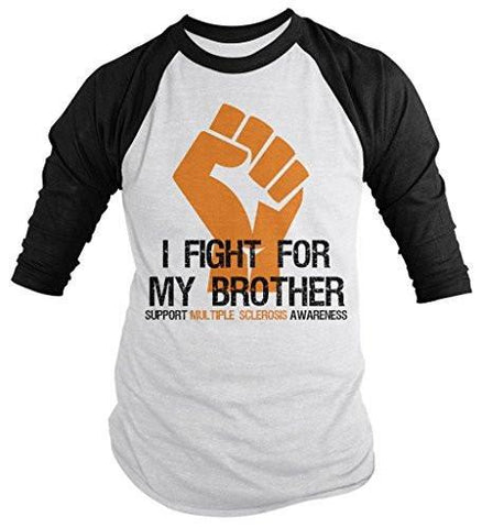 Shirts By Sarah Men's Multiple Sclerosis Awareness Shirt 3/4 Sleeve Fight For Brother Fist Orange Ribbon - Black/White / XX-Large