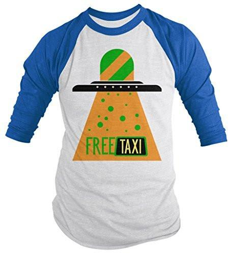 Shirts By Sarah Men's Funny Free Taxi UFO Shirt Hilarious 3/4 Sleeve Raglan Shirts-Shirts By Sarah