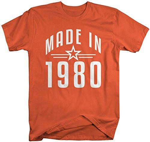 Shirts By Sarah Men's Made In 1980 Birthday T-Shirt Retro Star Custom Shirts-Shirts By Sarah