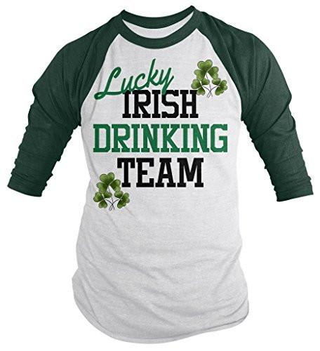 Shirts By Sarah Men's Lucky Irish Drinking Team Shirts St. Pats 3/4 Sleeve Raglan Shirt-Shirts By Sarah