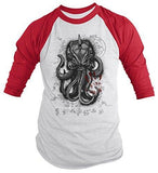 Shirts By Sarah Men's Kraken Shirt Giant Squid Monster 3/4 Sleeve Raglan Shirts-Shirts By Sarah