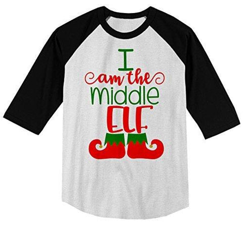 Shirts By Sarah Boy's Christmas I'm The Middle Elf T-Shirt Matching Sibling 3/4 Sleeve Shirt-Shirts By Sarah