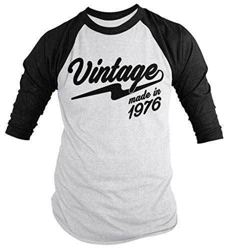 Shirts By Sarah Men's Vintage Made In 1976 Birthday Raglan Retro 3/4 Sleeve Shirts-Shirts By Sarah