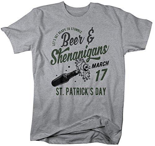 Shirts By Sarah Men's Funny ST. Patrick's Day Beer & Shenanigans Vintage T-Shirt-Shirts By Sarah