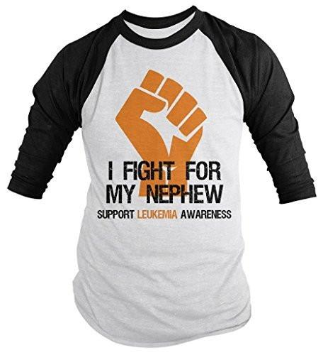Shirts By Sarah Men's Leukemia Awareness Shirt 3/4 Sleeve Fight For Nephew Fist Raglan Orange Ribbon-Shirts By Sarah