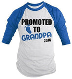 Shirts By Sarah Men's Promoted To Grandpa 2016 Shirt Grandparents Baby Reveal 3/4 Sleeve Raglan Shirts - Royal/White / XX-Large - 1