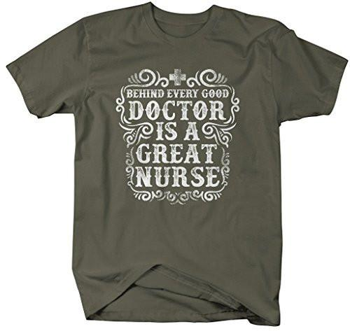 Shirts By Sarah Men's Nurses T-Shirt Behind Every Good Doctor Great Nurse-Shirts By Sarah