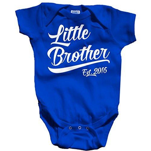 Shirts By Sarah Baby Boy's Little Brother Est. 2016 One Piece Bodysuit-Shirts By Sarah