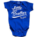 Shirts By Sarah Baby Boy's Little Brother Est. 2016 One Piece Bodysuit - Royal Blue / 12 Months - 1