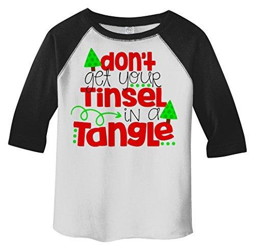 Shirts By Sarah Toddler Funny Tinsel In Tangle 3/4 Sleeve Raglan T-Shirt Christmas-Shirts By Sarah