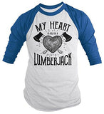 Men's Lumberjack T-Shirt My Heart Held by Tee Woodsman 3/4 Sleeve Raglan-Shirts By Sarah