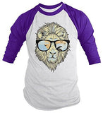 Shirts By Sarah Men's Hipster Lion 3/4 Sleeve T-Shirt Big Cat Shirts Summer Raglan Shirts-Shirts By Sarah