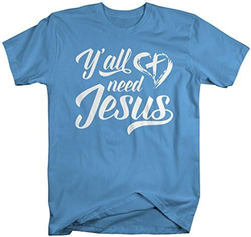 Shirts By Sarah Men's Funny Yall Need Jesus T-Shirt Christian Cross Shirts-Shirts By Sarah