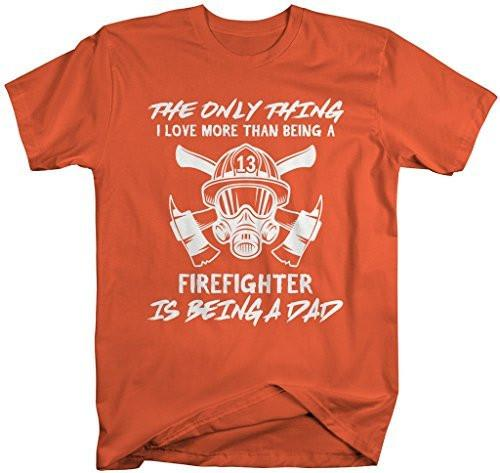 Shirts By Sarah Men's Firefighter T-Shirt Love Being A Dad Fireman Shirt-Shirts By Sarah