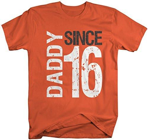 Shirts By Sarah Men's Daddy Since 16 T-Shirt Distressed Father's Day Shirt-Shirts By Sarah