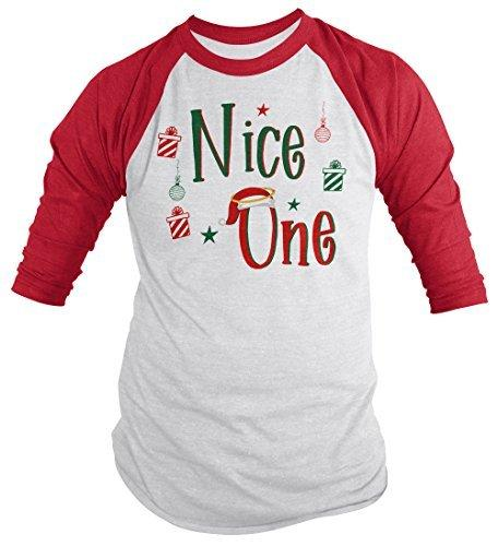 Shirts By Sarah Men's Funny Matching Christmas Nice One Shirt 3/4 Sleeve Raglan-Shirts By Sarah