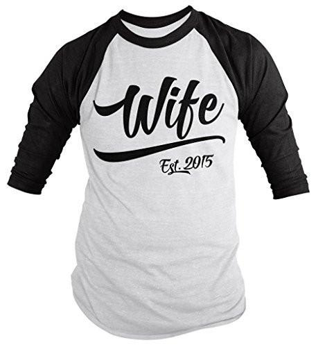 Shirts By Sarah Women's Wife Est. 2015 Shirt Wedding Anniversary 3/4 Sleeve Raglan Shirts-Shirts By Sarah
