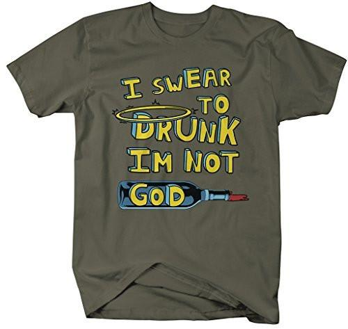 Shirts By Sarah Men's Funny Swear To Drunk T-Shirt Drinking Shirts-Shirts By Sarah