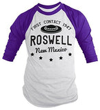 Shirts By Sarah Men's Roswell New Mexico Shirt Alien Shirts UFO 3/4 Sleeve Raglan-Shirts By Sarah