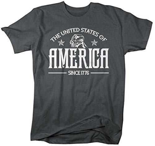 Shirts By Sarah Men's The United States Of America T-Shirt Patritoic Shirts-Shirts By Sarah