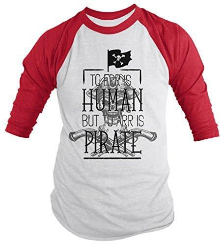 Shirts By Sarah Men's Funny Pirate Shirt Err Human Arr Pirate 3/4 Sleeve Raglan Shirts-Shirts By Sarah