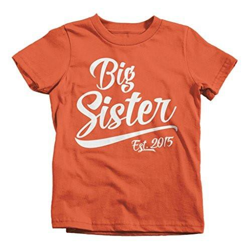 Shirts By Sarah Girl's Big Sister 2015 T-Shirt Sibling Matching Shirts-Shirts By Sarah