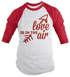 Shirts By Sarah Unisex Valentine's T-Shirt Love In The Air Arrow 3/4 Sleeve Raglan Shirts-Shirts By Sarah